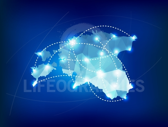 Estonia country map polygonal with spot lights places