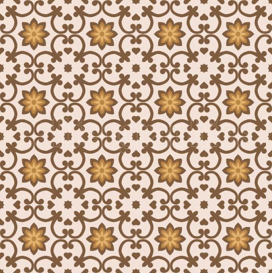 Floral brawn seamless tiles pattern