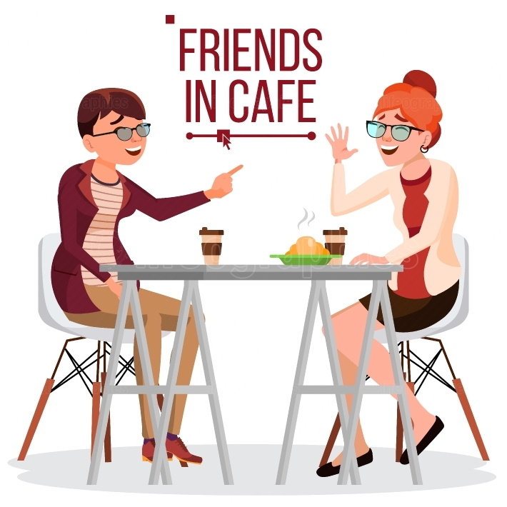 Friends In Cafe Vector  Two Woman  Drinking Coffee  Bistro, Cafeteria  Coffee Break Concept  Lifestyle  Have Fun  Communication Breakfast  Isolated Flat Cartoon Illustration
