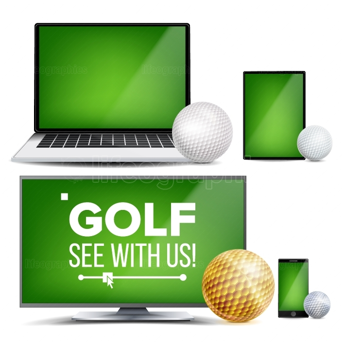 Golf Application Vector  Field, Golf Ball  Online Stream, Bookmaker, Sport Game App  Banner Design Element  Live Match  Monitor, Laptop, Touch Tablet, Mobile Smart Phone  Realistic Illustration