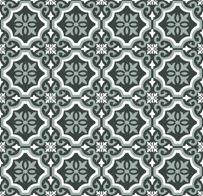 Green Olive Spanish tiles pattern