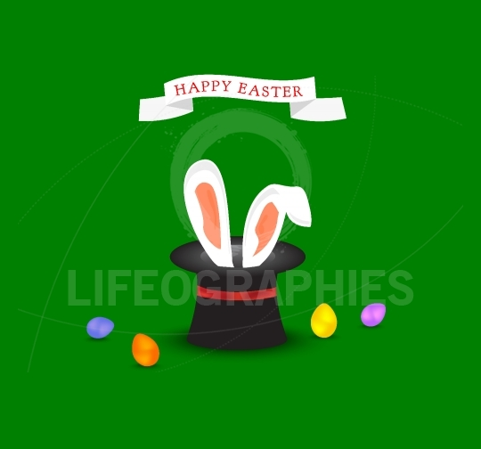 Happy Easter greeting card with Bunny ears coming out of magic h