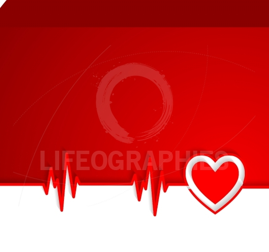 Heart beat cardiogram with heart shape