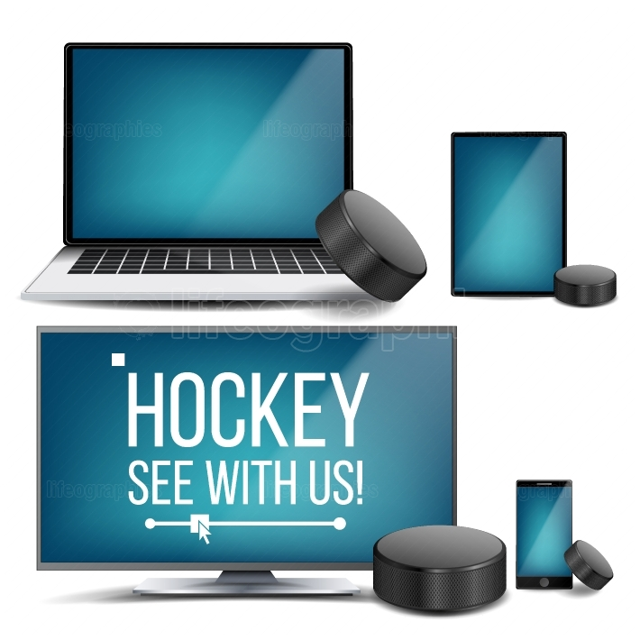 Hockey Application Vector  Hockey Puck  Online Stream, Bookmaker, Sport Game App  Banner Design Element  Live Match  Monitor, Laptop, Touch Tablet, Mobile Smart Phone  Realistic Illustration