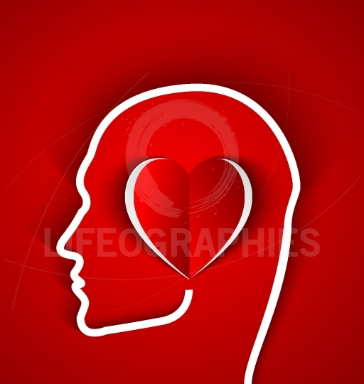 Human head with paper red heart