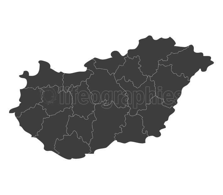 Hungary map with regions