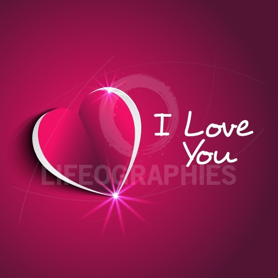 I love you message with modern paper heart shape  in cute backgr