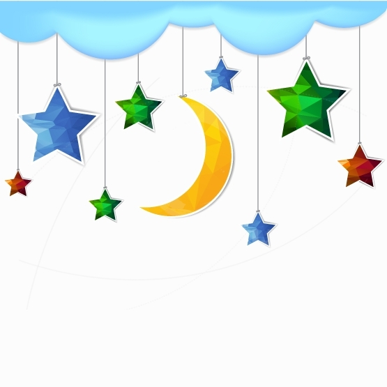 Illustration hanging moon and star polygonal with copy space