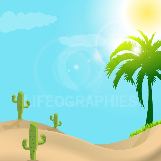 Illustration of desert scene in day light