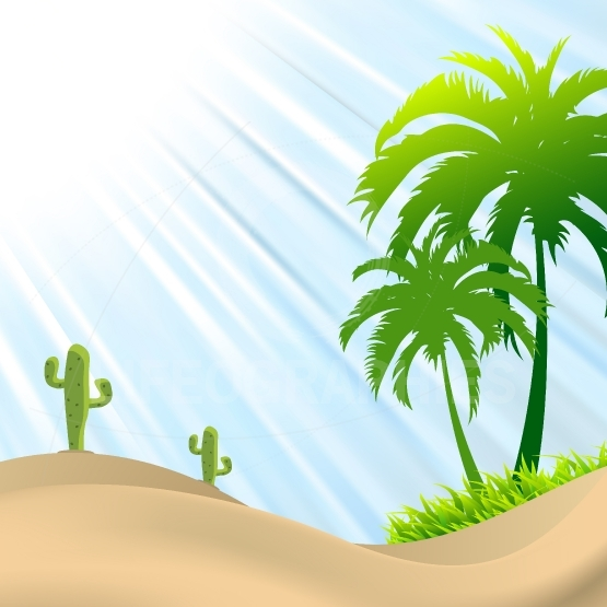 Illustration of desert scene with palm tree,cactus, sand dunes