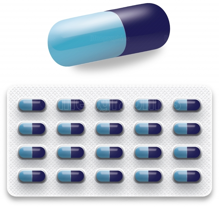 Isolated Blue pills in a Blister pack