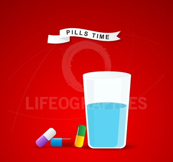 It is time for drugs,pill.Medical pill and glass of water for ta