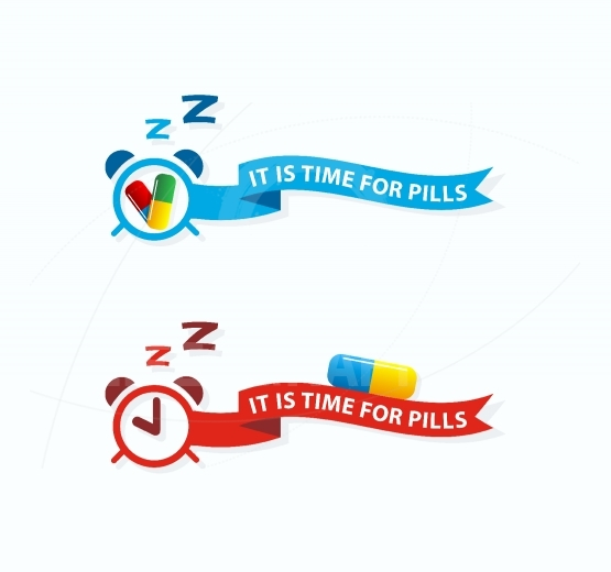 It is time for pills.Take pills label,icon concept.Do not forget