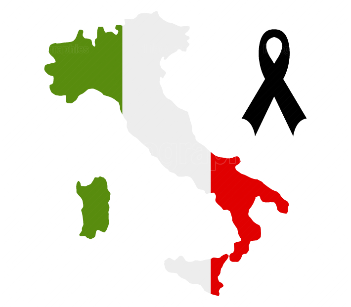 Italy map with mourning ribbon
