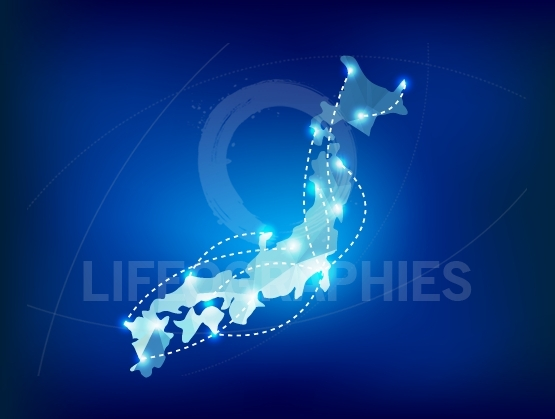 Japan map polygonal with spot lights places