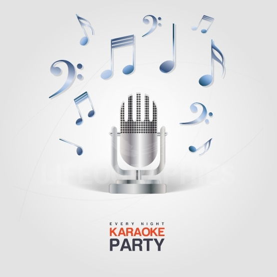 Karaoke Party poster with microphone and musical notes