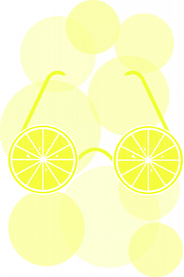 Lemon sunglasses with circles floating around