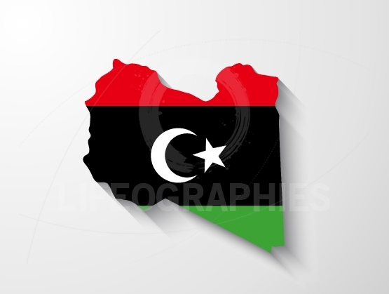 Libya map with shadow effect