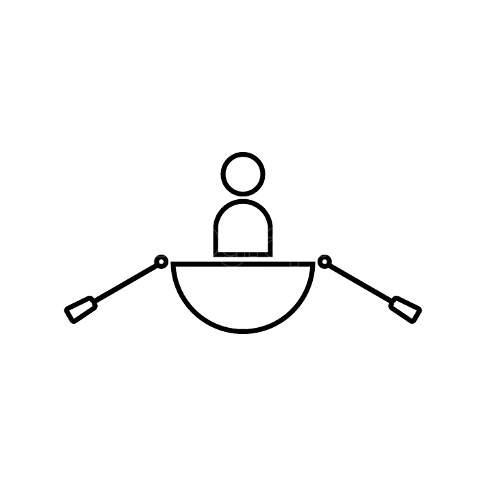 Man in a boat black color icon