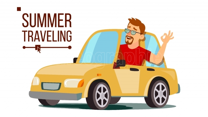 Man Travelling By Car Vector  Boy In Summer Vacation  Rides In The Car  Road Trip  Isolated Flat Cartoon Illustration