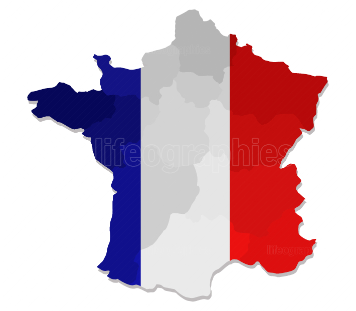 Map of France with flag