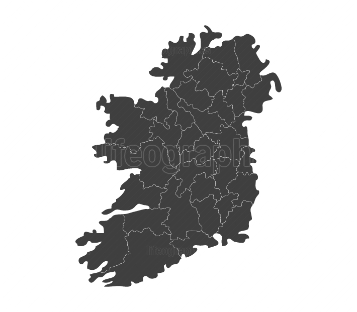 map of Ireland with regions