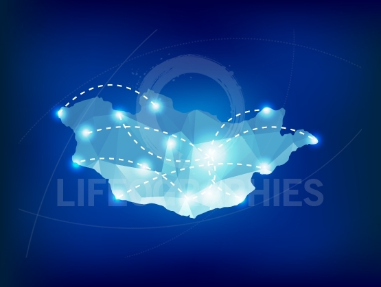 Mongolia country map polygonal with spot lights places