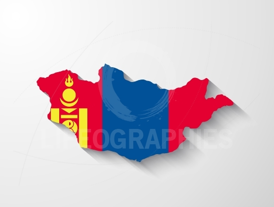 Mongolia map with shadow effect