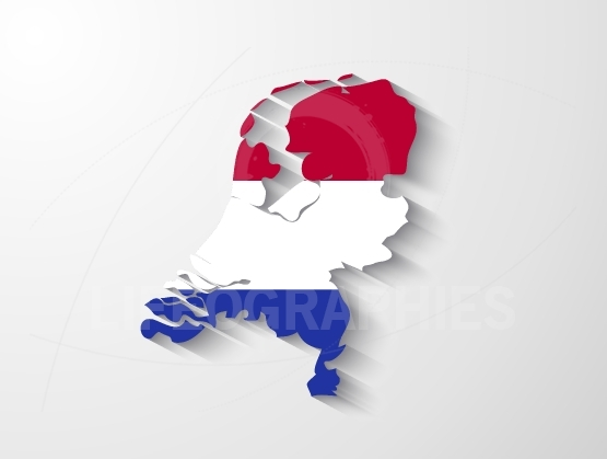 Netherlands map with shadow effect