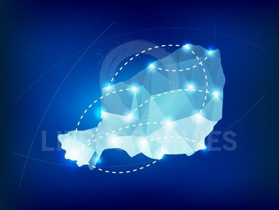 Niger country map polygonal with spot lights places