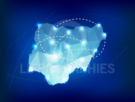 Nigeria country map polygonal with spot lights places