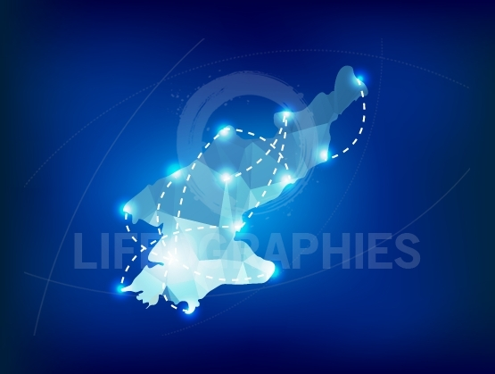 North Korea country map polygonal with spot lights places