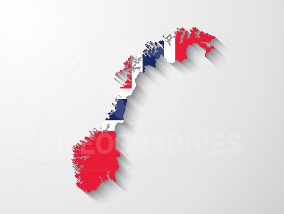 Norway map with shadow effect presentation