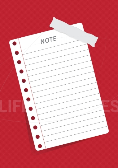 Note paper on red background