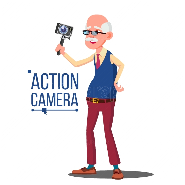 Old Man With Action Camera Vector  Self Video, Portrait  Shooting Process  Recording Video  Isolated Cartoon Illustration