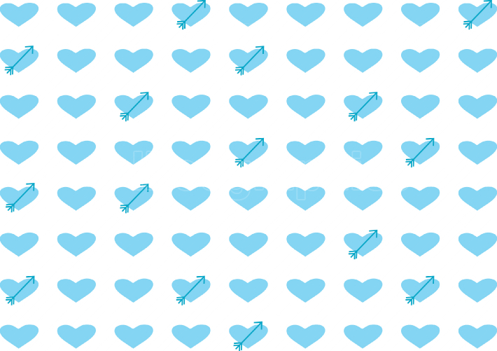 Pattern of blue hearts and arrows
