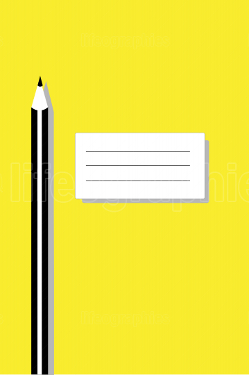 Pencil and a note on yellow background