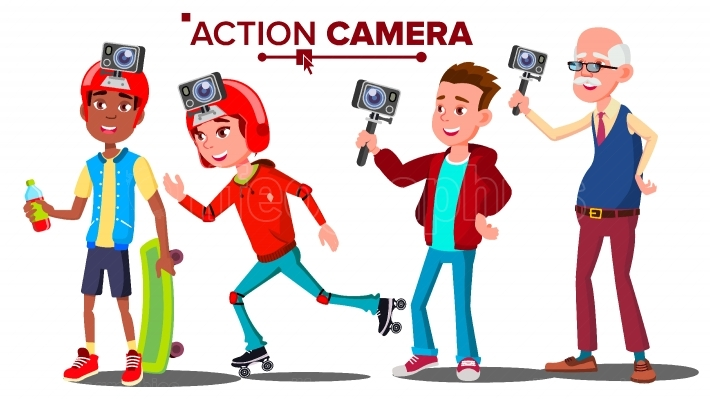 People With Action Camera Set Vector  Self Video, Portrait  Shooting Process  Active Type Of Rest  Isolated Cartoon Illustration