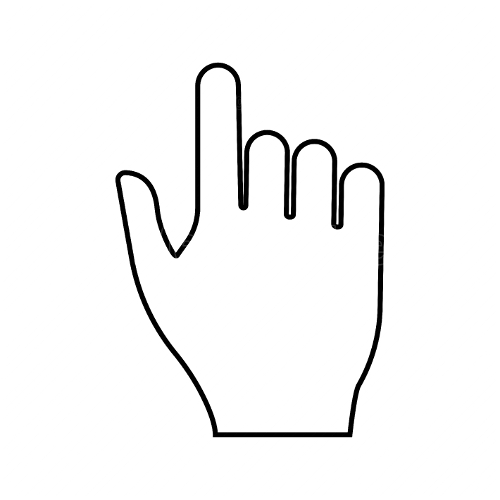 Pointing hand black color icon