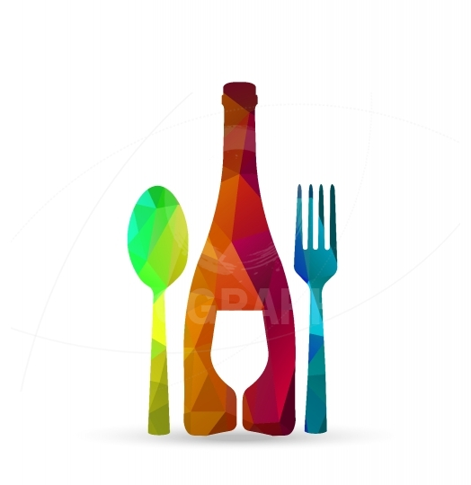 Polygonal glass, cup, fork, spoon - concept restaurant menu