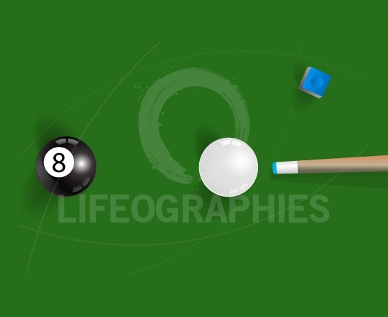 Pool table background with white and black  pool ball, chalk and