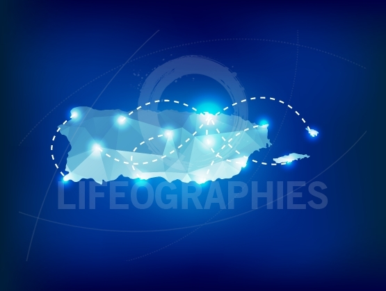 Puerto Rico country map polygonal with spot lights places