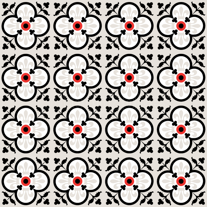 Red and Black floral seamless tiles pattern