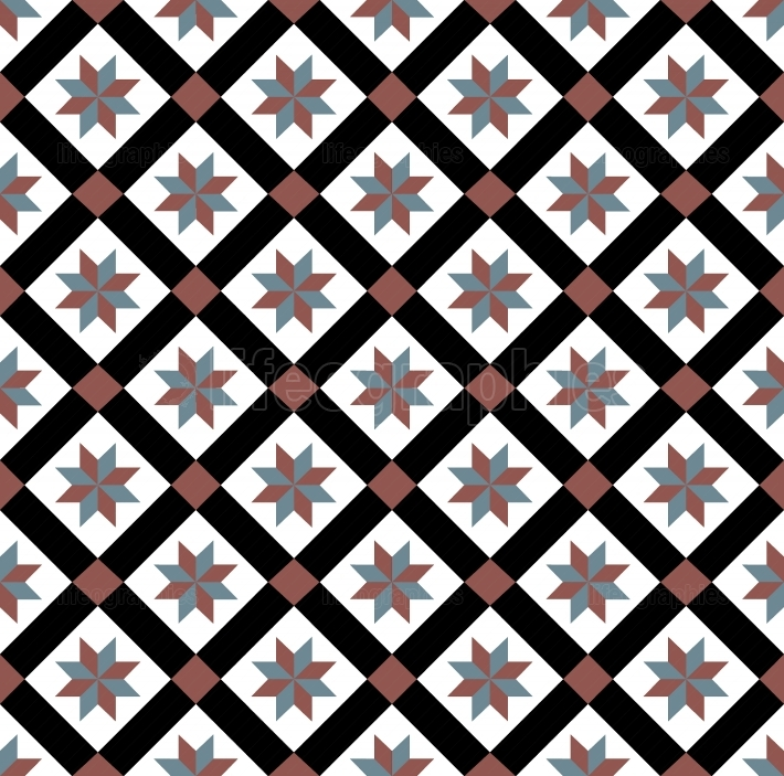 Red blue spanish tiles pattern