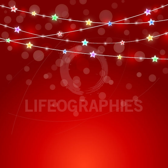 Red holiday background with colored lights and stars