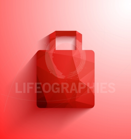Red shopping bag.Abstract polygonal shape shopping bag with long shadow and copy-space