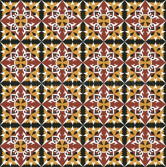 Red yellow spanish tiles pattern