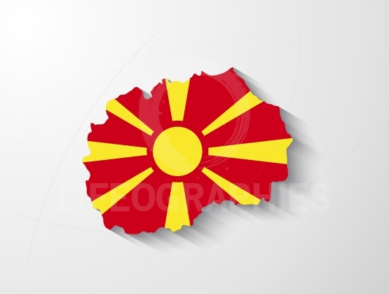 Republic of Macedonia map with shadow effect