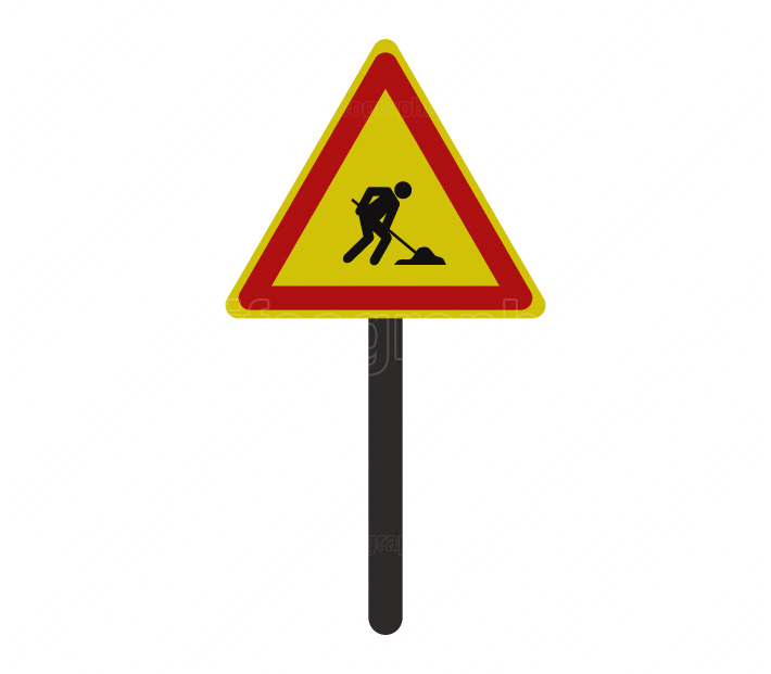 Road sign work in progress icon