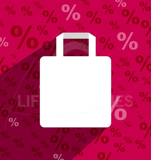 SALE shopping bag with copy space and long shadow